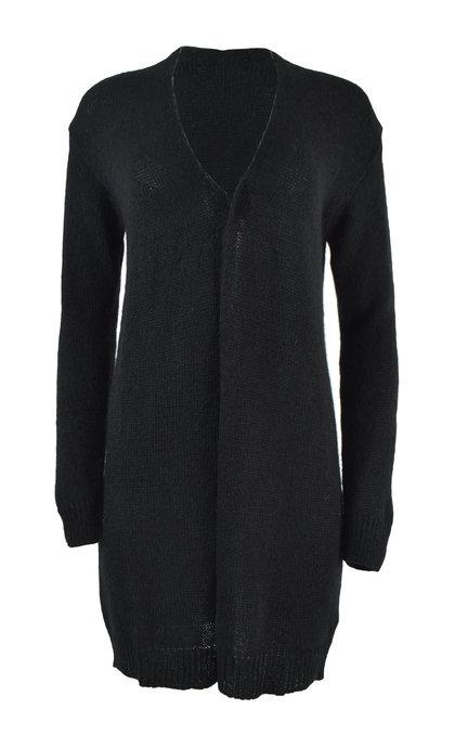 Indi & Cold Alpaca Maxi Cardigan Negro