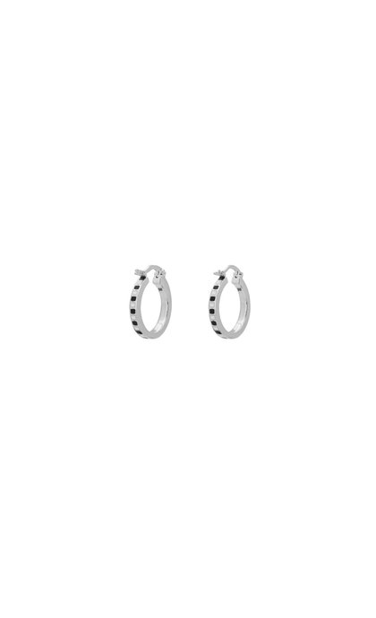 Anna + Nina Mummy Ring Earrings Black/White Silver