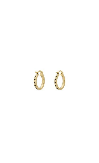 Anna + Nina Mummy Ring Earrings Black/White Silver Goldplated