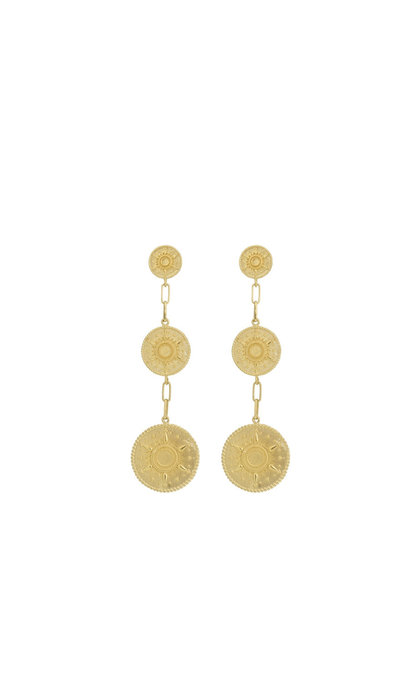 Anna + Nina Multi Coin Earrings Brass Goldplated