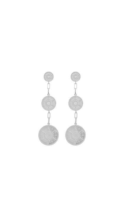 Anna + Nina Multi Coin Earrings Brass Silverplated