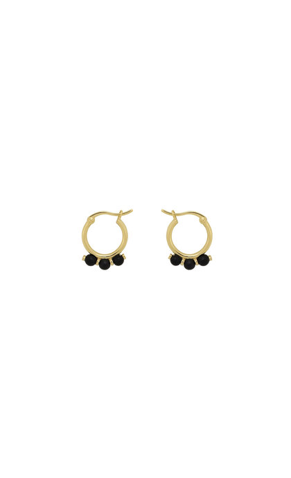 Anna + Nina Onyx Ring Earrings Silver Goldplated