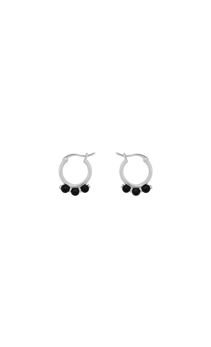 Anna + Nina Onyx Ring Earrings Silver