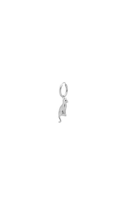 Anna + Nina Single Feline Ring Earring Silver