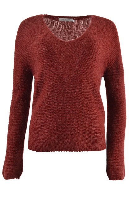 Indi & Cold Oversized V-Neck Jumper Rojo Lava