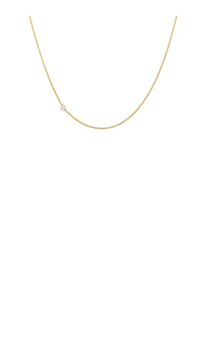 Anna + Nina White Quartz Necklace Short Silver Goldplated