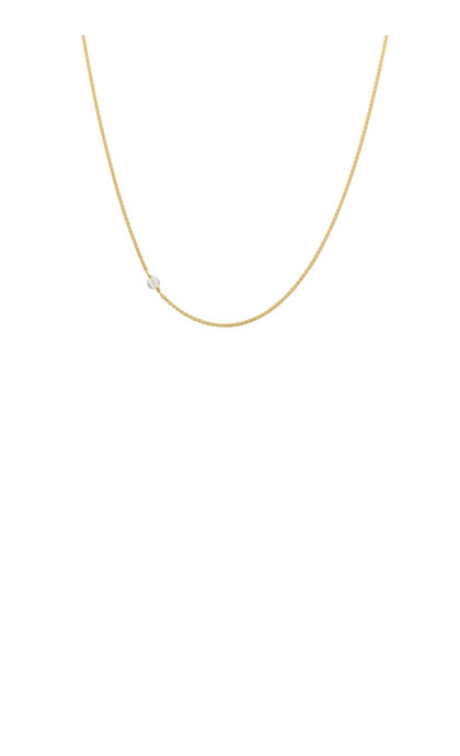 Anna + Nina White Quartz Necklace Long Silver Goldplated