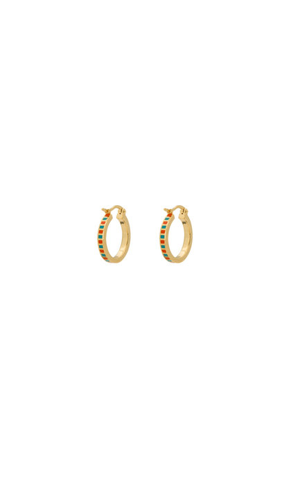 Anna + Nina Mummy Ring Earrings Orange / Turquoise Silver Goldplated