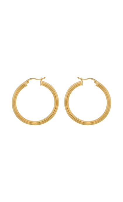Anna + Nina Pyramid Hoop Earring Silver Goldplated