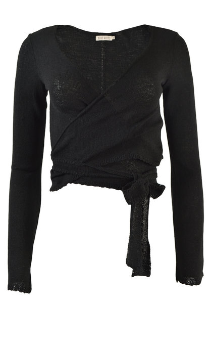 Moost Wanted Zina Knitted Wrap Top Black
