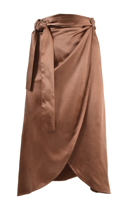 Moost Wanted Flora Satin Wrap Skirt Rust Red