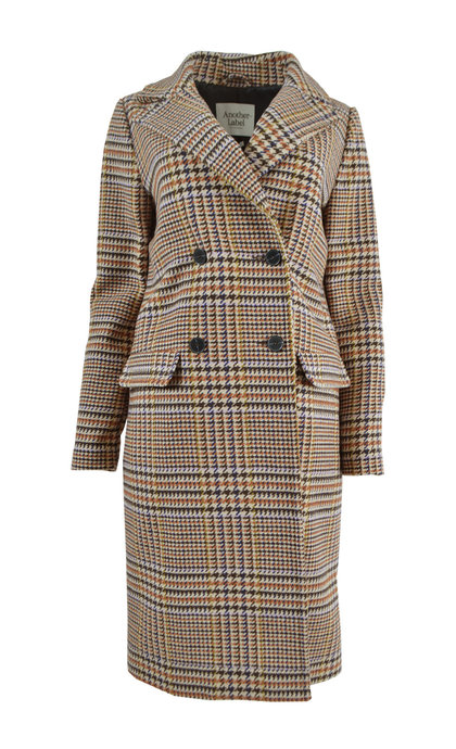 Another Label Voil Coat Retro Check Multi Autumn Maple