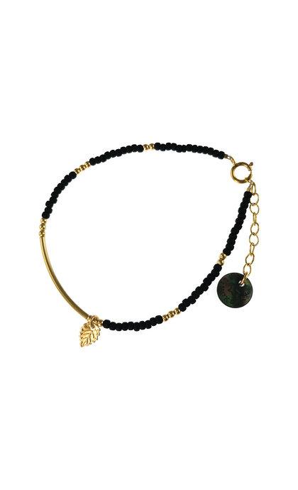 Blinckstar GF Tube And Mini Leaf Matte Black Beads