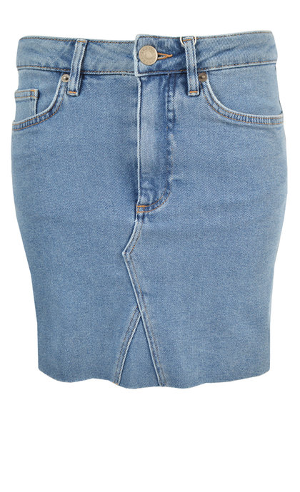 Second Female Sille MW Skirt Blue Denim