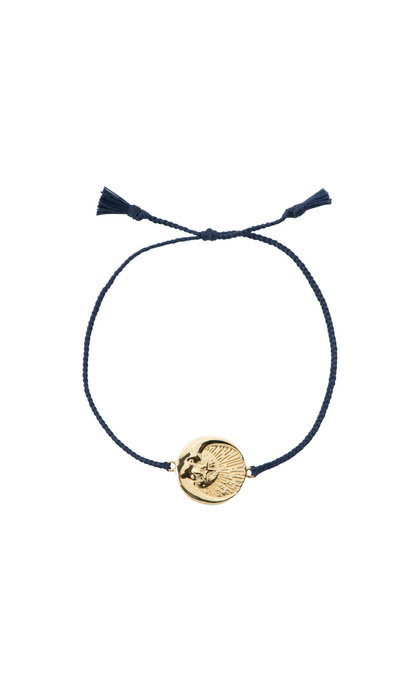 Anna + Nina Cosmic Thread Bracelet Royal Blue Silver Goldplated