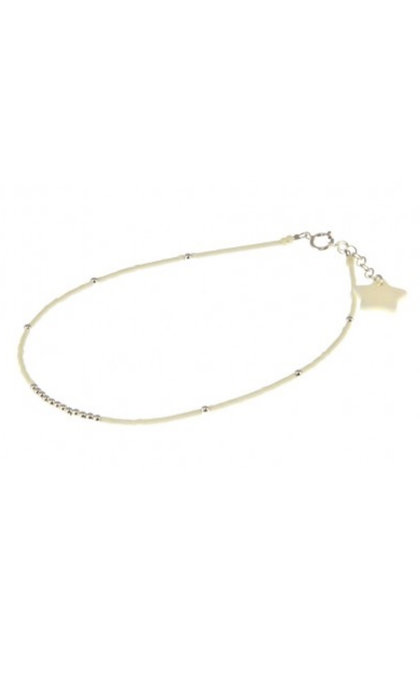 Blinckstar Enkelbandje White Beads & Silver