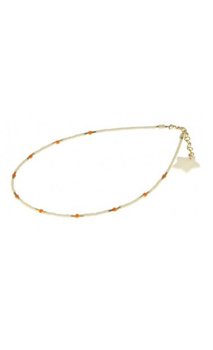 Blinckstar Enkelbandje White Beads & Orange