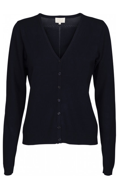 Minus New Laura V-neck Cardigan Black Iris Solid