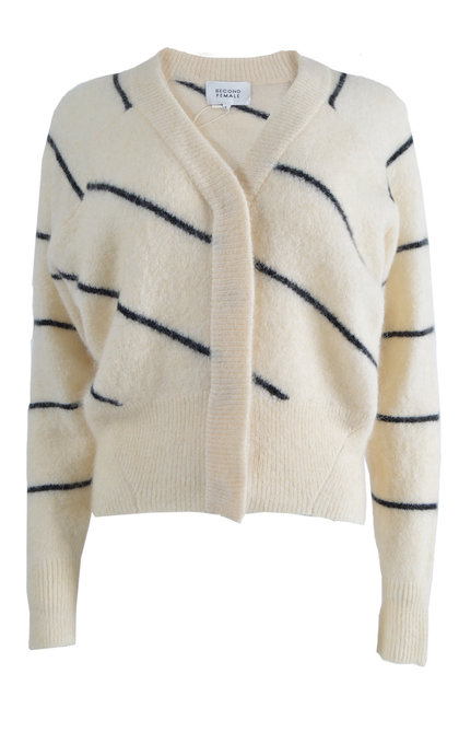 Second Female Brook Knit Striped Boxy Cardigan Eggnog