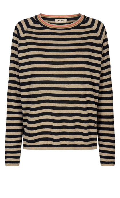 Mos Mosh Wyne Stripe Knit Black