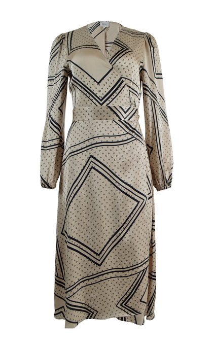 Second Female Isa LS Wrap Dress Abbey Stone