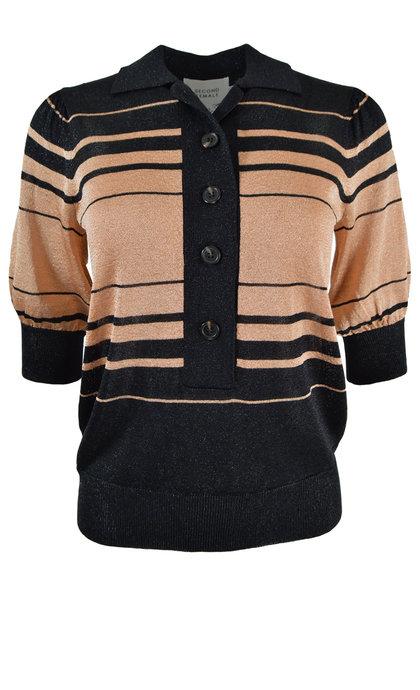 Second Female Rim Knit SS Polo Black
