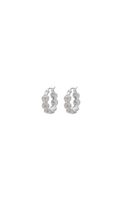 Anna + Nina Daisy Colored Ring Earrings Silver