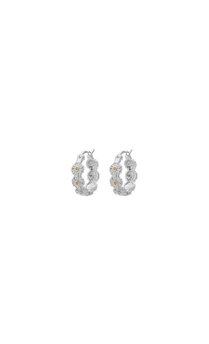 Anna + Nina Daisy Coloured Ring Earrings Silver