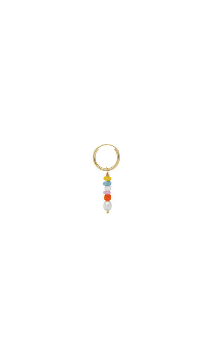 Anna + Nina Single Beaded Ring Earring Goldplated