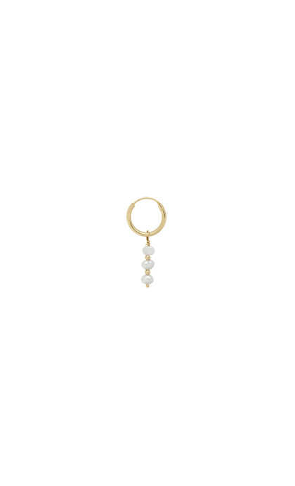 Anna + Nina Single Pearly Ring Earring Goldplated