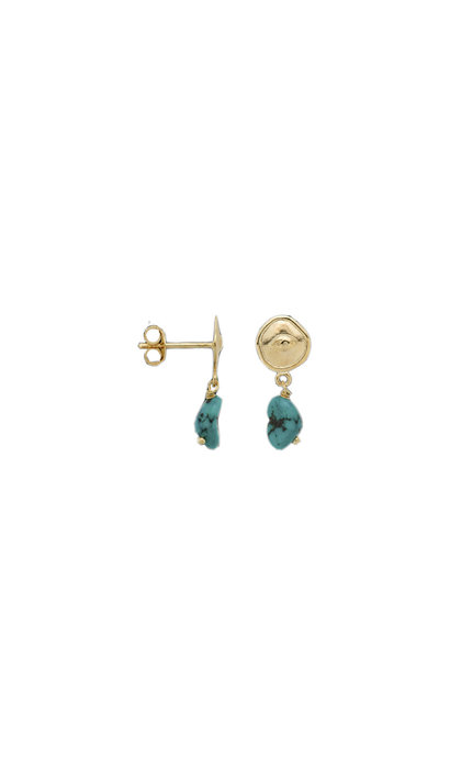 Anna + Nina Single Turquoise Spy Stud Goldplated