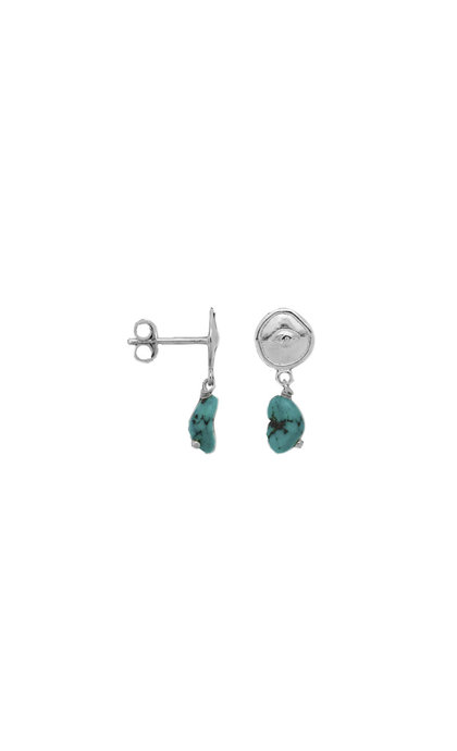 Anna + Nina Single Turquoise Spy Stud Silver