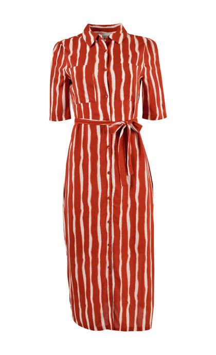 Another Label Sorbonne Dress s / s Burned Orange Stripe