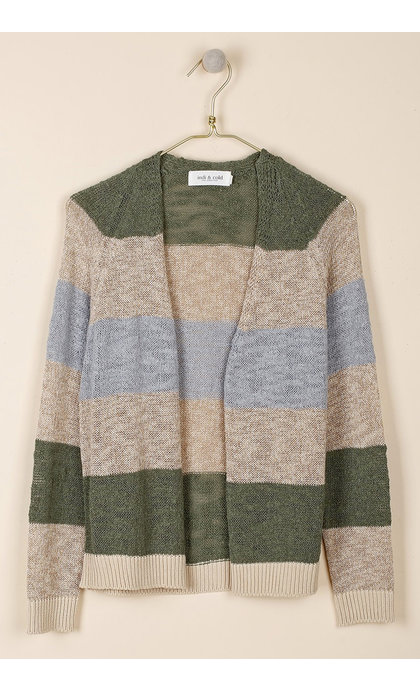 Indi & Cold Striped Rustic Tricot Cardigan Khaki  GB184