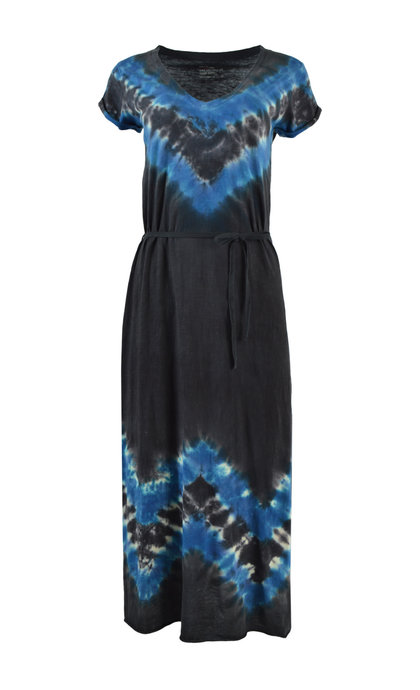 Leon and Harper Reinna Tie and Dye Short Sleeve Long Dress Azul