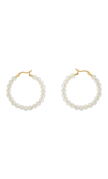 Anna + Nina Multi White Quartz Hoop Earrings Goldplated