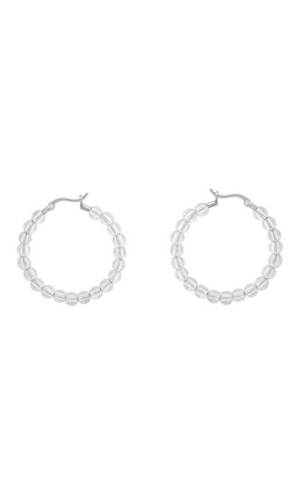 Anna + Nina Multi White Quartz Hoop Earrings Silver