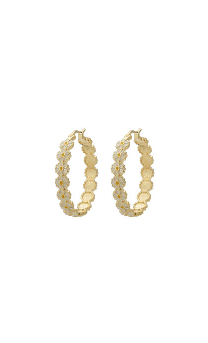 Anna + Nina Daisy Coloured Hoop Earrings Goldplated