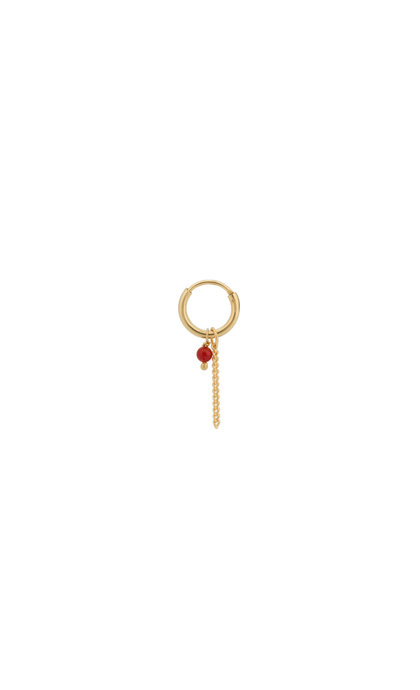 Anna + Nina Single Coral Chain Ring Earring Silver Goldplated