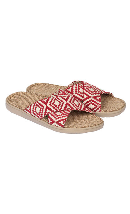 Lovelies Gili Woven Straps Sandal w/ Jute Sole Red