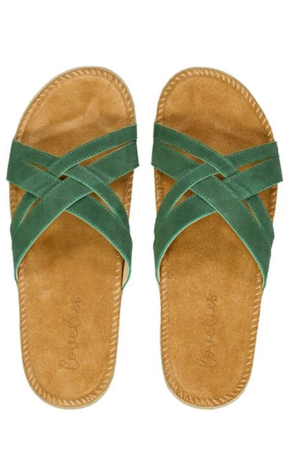 Lovelies Sa Trinxa  Double Cross Suede Sandal Green