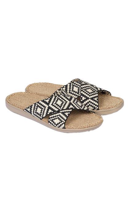 Lovelies Gili Woven Straps Sandal w/ Jute Sole Black