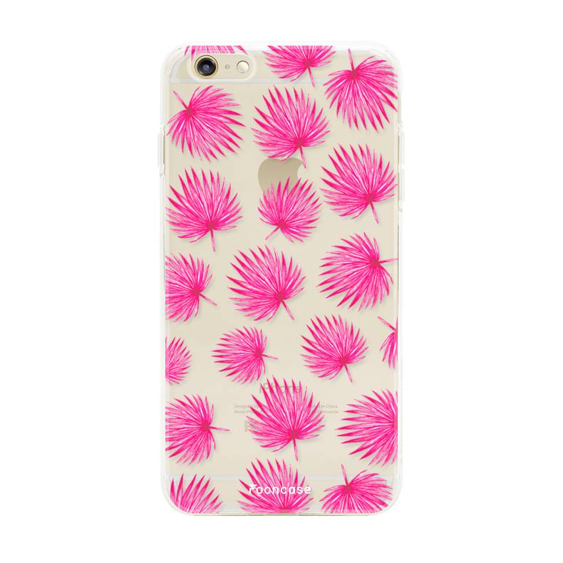 FOONCASE iPhone 6 Plus hoesje TPU Soft Case - Back Cover - Pink leaves / Roze bladeren