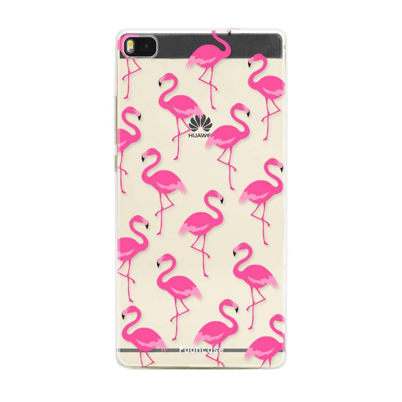 FOONCASE Huawei P8 hoesje TPU Soft Case - Back Cover - Flamingo