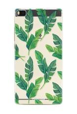 FOONCASE Huawei P8 hoesje TPU Soft Case - Back Cover - Banana leaves / Bananen bladeren