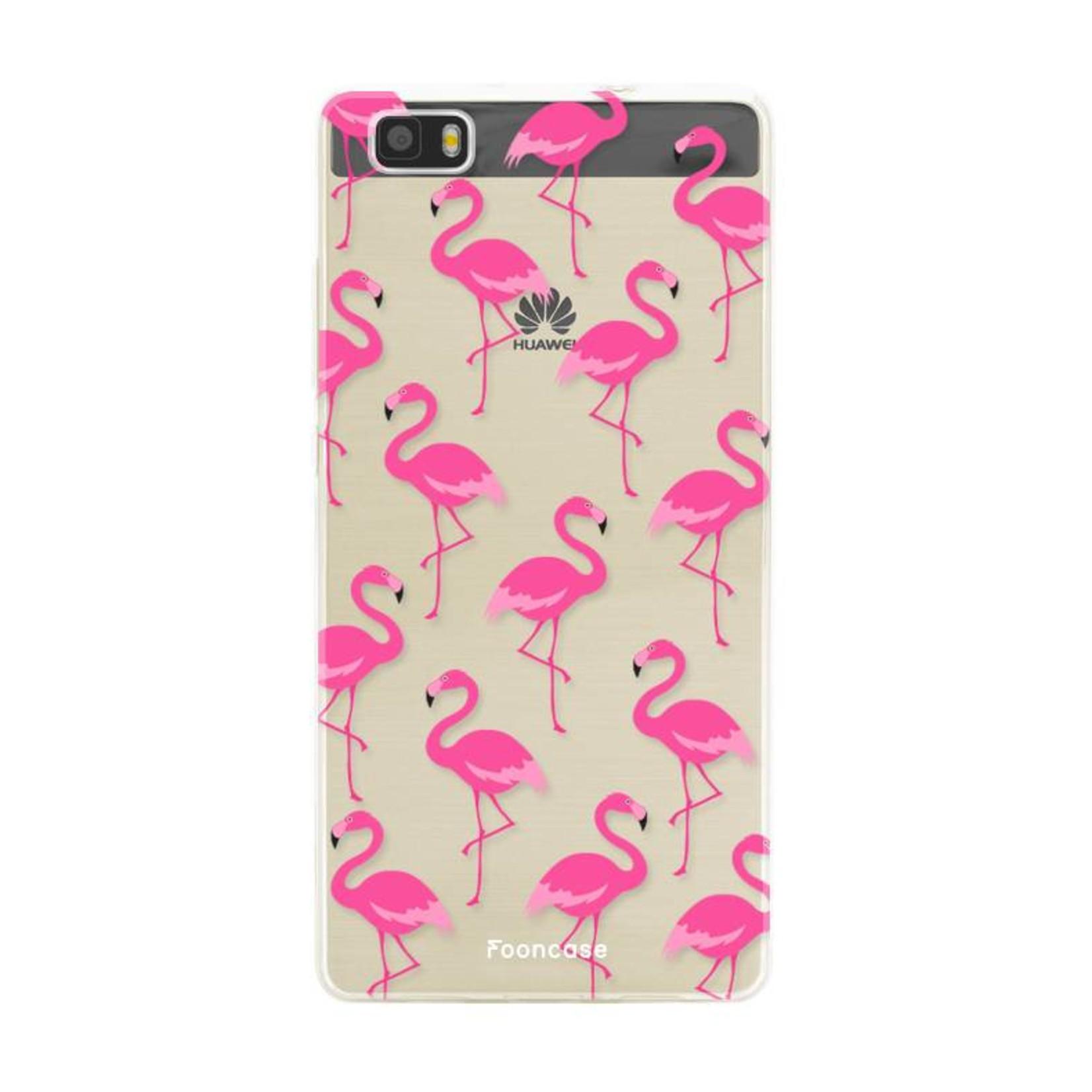 FOONCASE Huawei P8 Lite 2016 hoesje TPU Soft Case - Back Cover - Flamingo