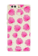 FOONCASE Huawei P9 hoesje TPU Soft Case - Back Cover - Pink leaves / Roze bladeren