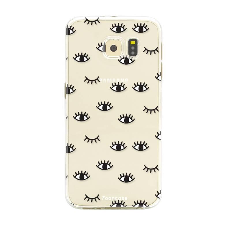FOONCASE Samsung Galaxy S6 Edge hoesje TPU Soft Case - Back Cover - Eyes / Ogen