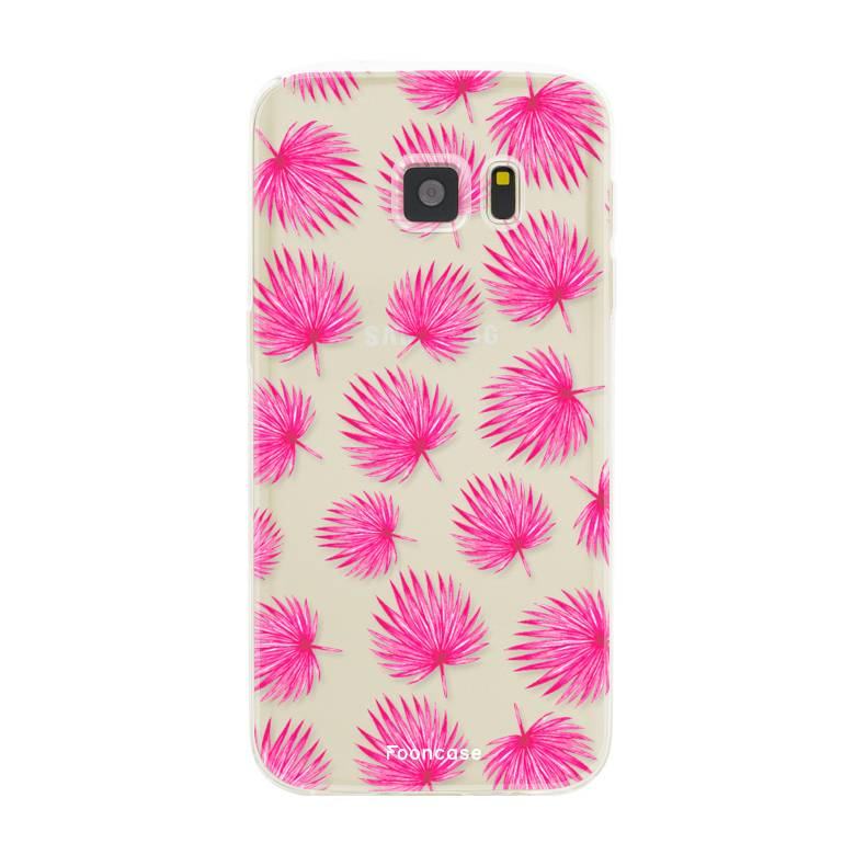 FOONCASE Samsung Galaxy S7 Handyhülle - Rosa Blätter