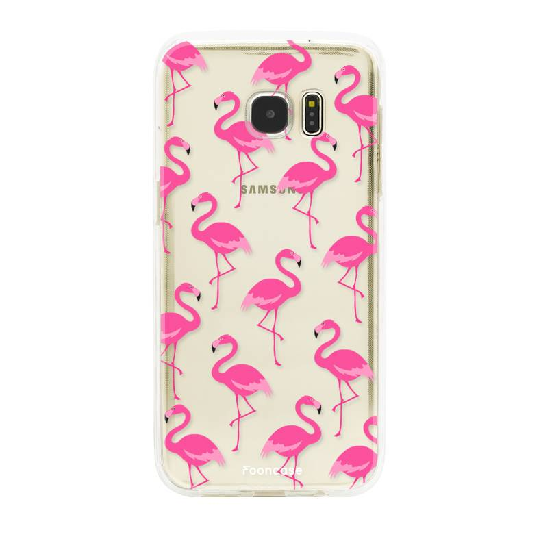 FOONCASE Samsung Galaxy S7 Edge hoesje TPU Soft Case - Back Cover - Flamingo